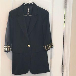Black blazer with gold accent